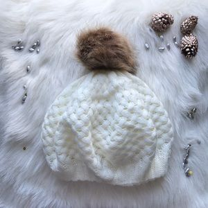 Winter Cute and Cozy Beanie Hat with Faux Fur Pom
